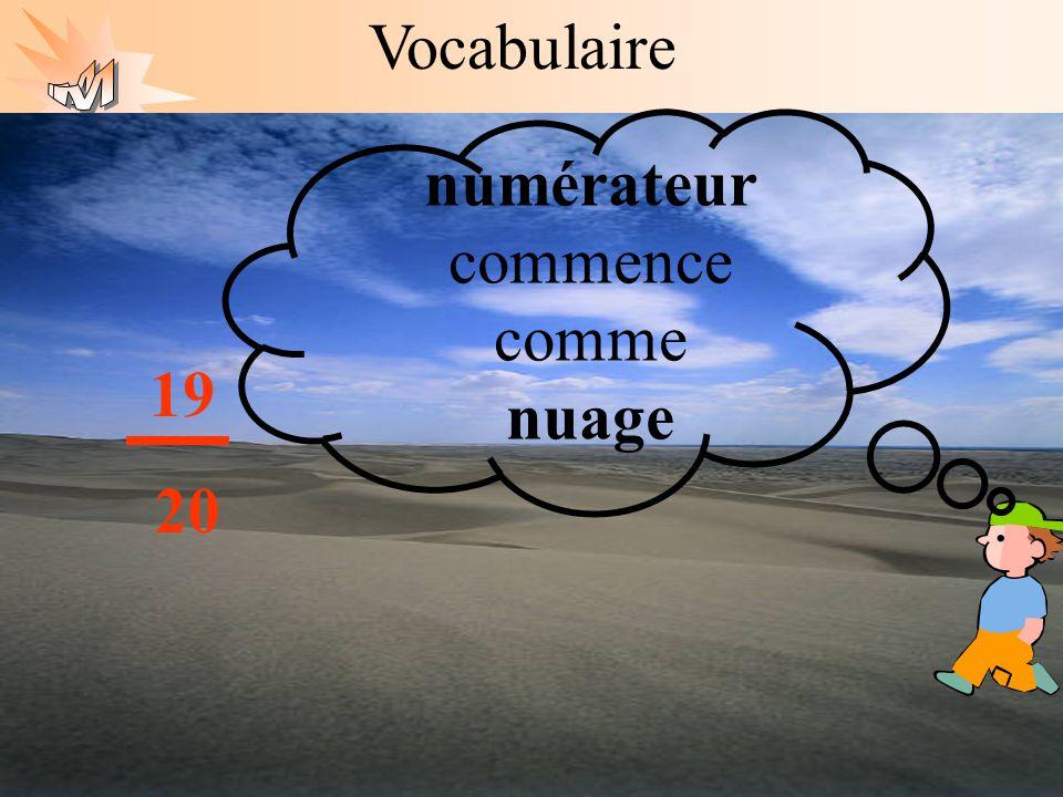 Les mathématiques autrement Vocabulaire numérateur commence comme nuage. 19 20