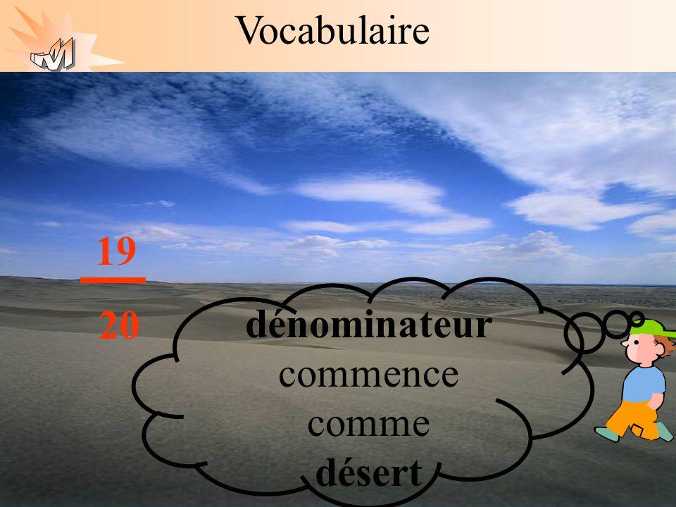 Les mathématiques autrement Vocabulaire Le dénominateur ne peut pas être égal à zéro. 19 20