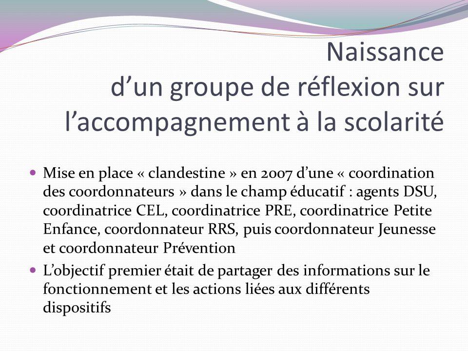 Assez rapidement, la « coordo des coordos » pointe les dysfonctionnements, les cloisonnements et létanchéité entre dispositifs particuliers et services de droit commun Proposition des « coordos » de mettre en place dans le cadre du PRE (seul lieu où existe un large partenariat inter- institutionnel) des groupes de réflexion qui associeraient coordonnateurs et services de droit commun (Ville-CG-EN) pour construire un futur « projet éducatif partagé » 3 groupes sont proposés : Appui à la parentalité (qui ne verra jamais le jour), Décrochage Scolaire (qui devient très rapidement un groupe de suivi dun dispositif daccueil des collègiens exclus), Accompagnement à la scolarité