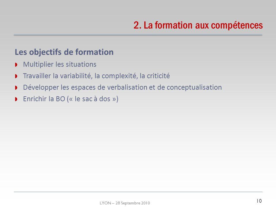 LYON – 28 Septembre 2010 2. La formation aux compétences Les objectifs de formation Multiplier les situations Travailler la variabilité, la complexité