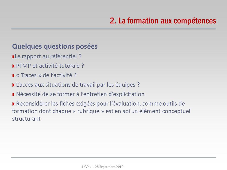 LYON – 28 Septembre 2010 Quelques questions posées Le rapport au référentiel ? PFMP et activité tutorale ? « Traces » de lactivité ? Laccès aux situat