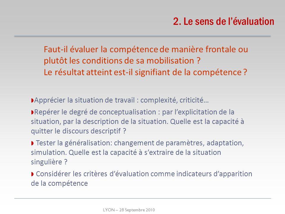 LYON – 28 Septembre 2010 2. Le sens de lévaluation Faut-il évaluer la compétence de manière frontale ou plutôt les conditions de sa mobilisation ? Le