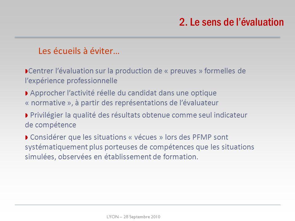 LYON – 28 Septembre 2010 2. Le sens de lévaluation Les écueils à éviter… Centrer lévaluation sur la production de « preuves » formelles de lexpérience