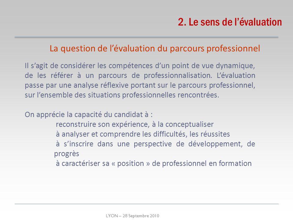 LYON – 28 Septembre 2010 2. Le sens de lévaluation La question de lévaluation du parcours professionnel Il sagit de considérer les compétences dun poi