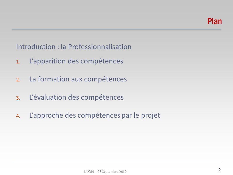 LYON – 28 Septembre 2010 Introduction : la Professionnalisation Processus de socialisation Processus dacquisition : professionnalité, compétences, expérience Processus de développement professionnel 3