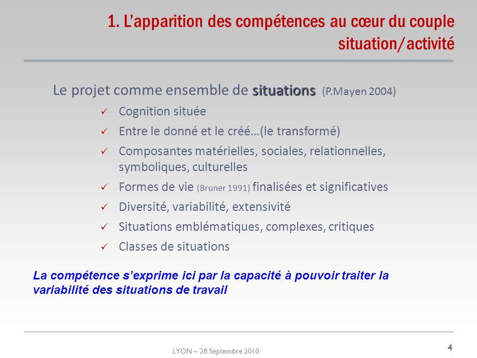 LYON – 28 Septembre 2010 1. Lapparition des compétences au cœur du couple situation/activité situations Le projet comme ensemble de situations (P.Maye