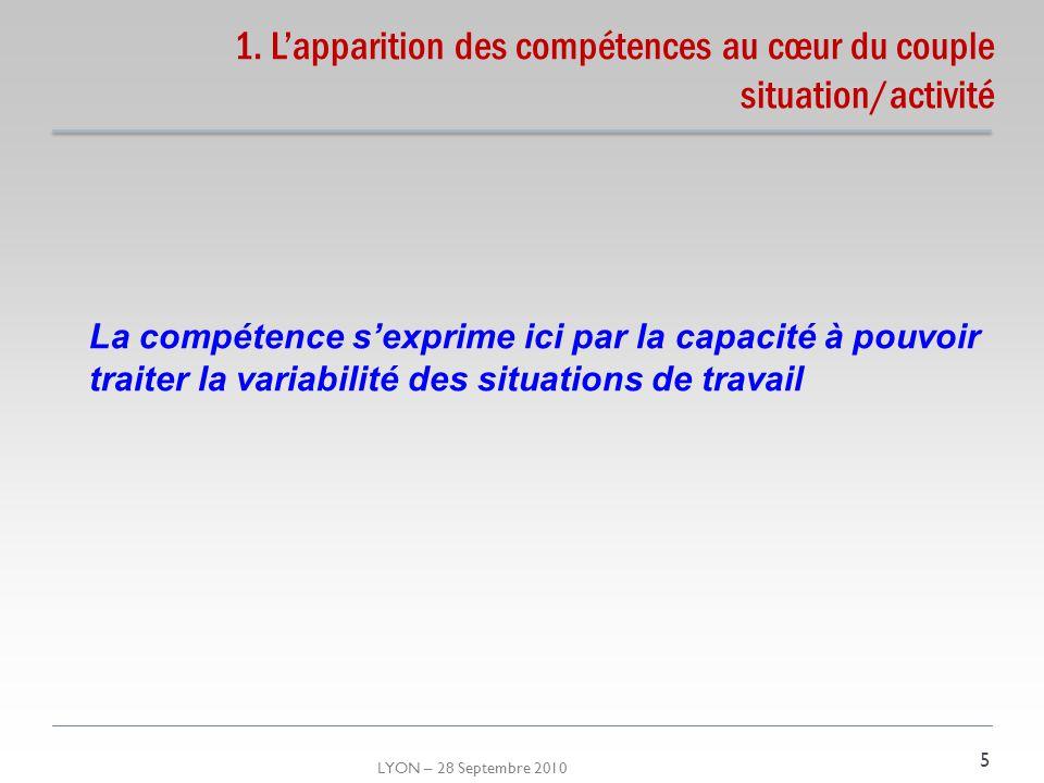 LYON – 28 Septembre 2010 1. Lapparition des compétences au cœur du couple situation/activité 5 La compétence sexprime ici par la capacité à pouvoir tr