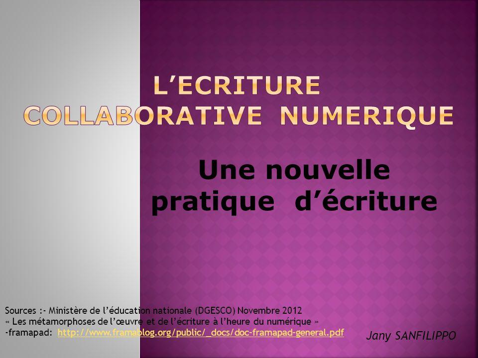 Une nouvelle pratique décriture Sources :- Ministère de léducation nationale (DGESCO) Novembre 2012 « Les métamorphoses de lœuvre et de lécriture à lh