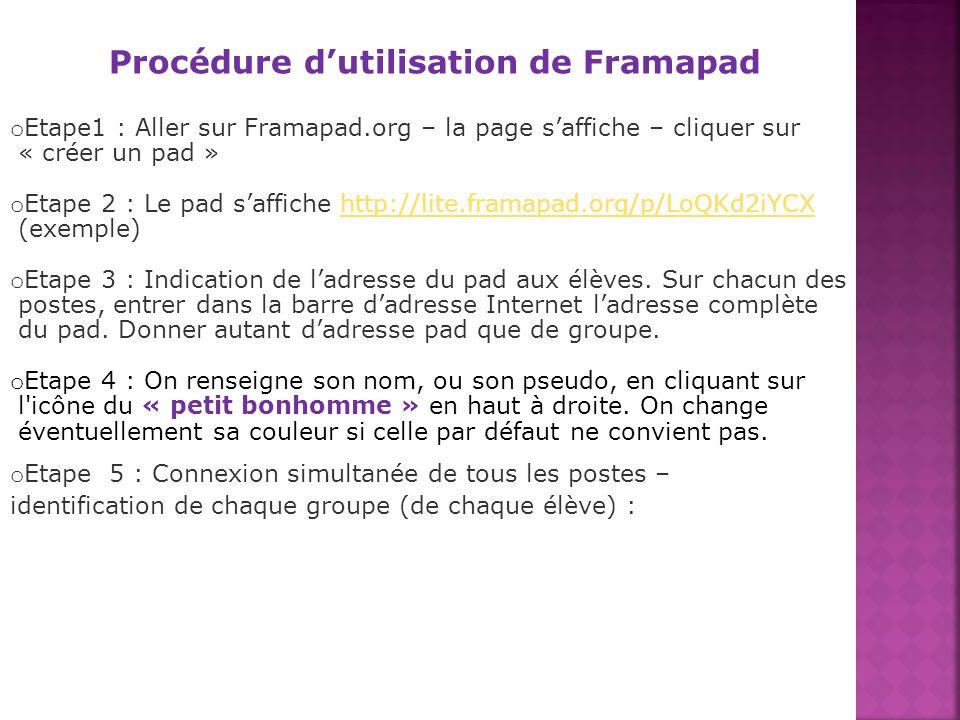 Procédure dutilisation de Framapad o Etape1 : Aller sur Framapad.org – la page saffiche – cliquer sur « créer un pad » o Etape 2 : Le pad saffiche htt