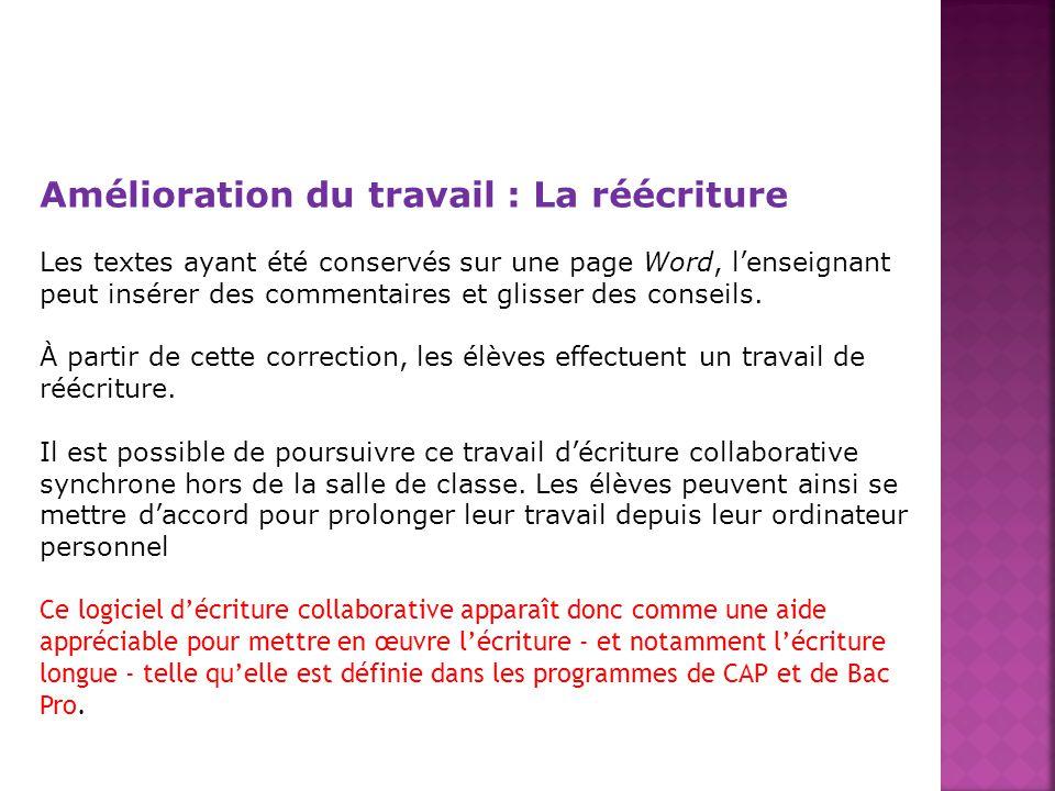 Amélioration du travail : La réécriture Les textes ayant été conservés sur une page Word, lenseignant peut insérer des commentaires et glisser des con