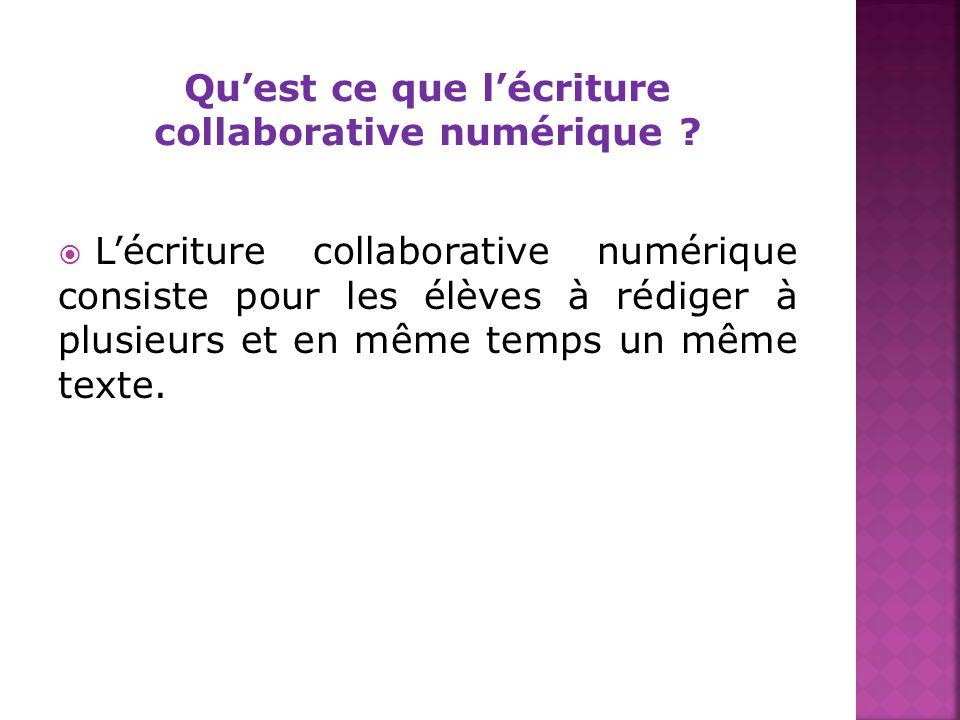 Lécriture collaborative numérique consiste pour les élèves à rédiger à plusieurs et en même temps un même texte.