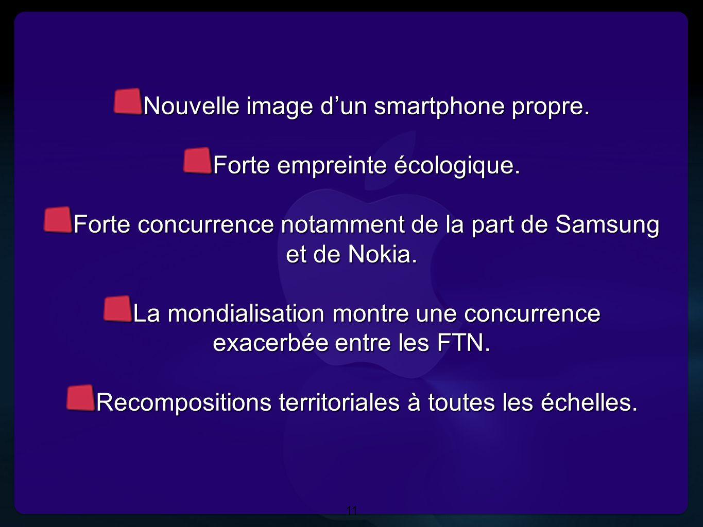 11 Nouvelle image dun smartphone propre. Forte empreinte écologique. Forte concurrence notamment de la part de Samsung et de Nokia. La mondialisation