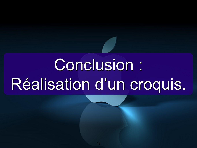 12 Conclusion : Réalisation dun croquis. Conclusion : Réalisation dun croquis. 12