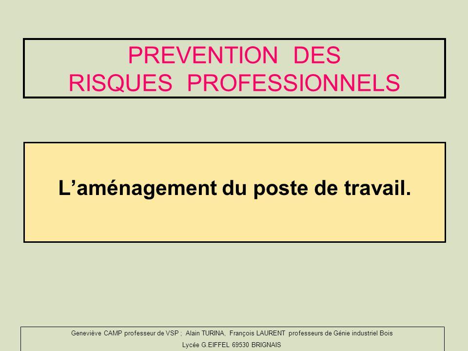 PREVENTION DES RISQUES PROFESSIONNELS Laménagement du poste de travail.