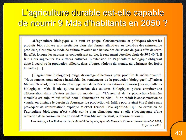 43 Lagriculture durable est-elle capable de nourrir 9 Mds dhabitants en 2050 ?