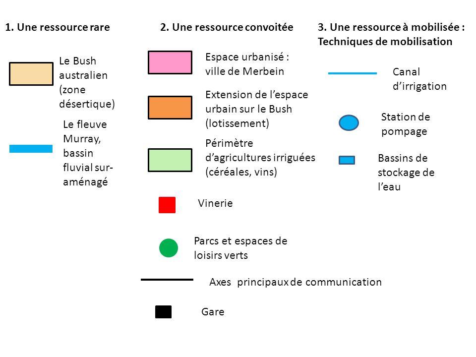 1. Une ressource rare2. Une ressource convoitée3. Une ressource à mobilisée : Techniques de mobilisation Le Bush australien (zone désertique) Le fleuv