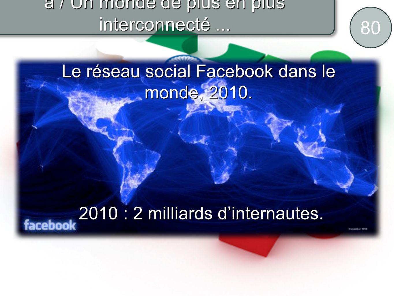 80 a / Un monde de plus en plus interconnecté... Le réseau social Facebook dans le monde, 2010. 2010 : 2 milliards dinternautes. 2010 : 2 milliards di
