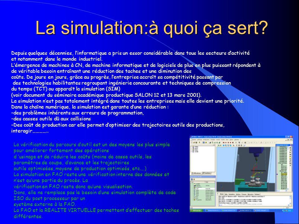 La simulation:à quoi ça sert? Depuis quelques décennies, linformatique a pris un essor considérable dans tous les secteurs dactivité et notamment dans
