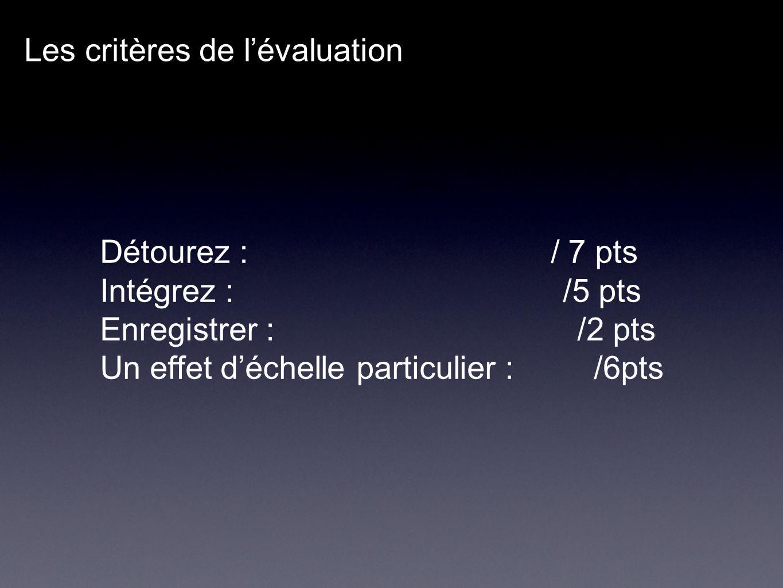 Les critères de lévaluation Détourez : / 7 pts Intégrez : /5 pts Enregistrer : /2 pts Un effet déchelle particulier : /6pts