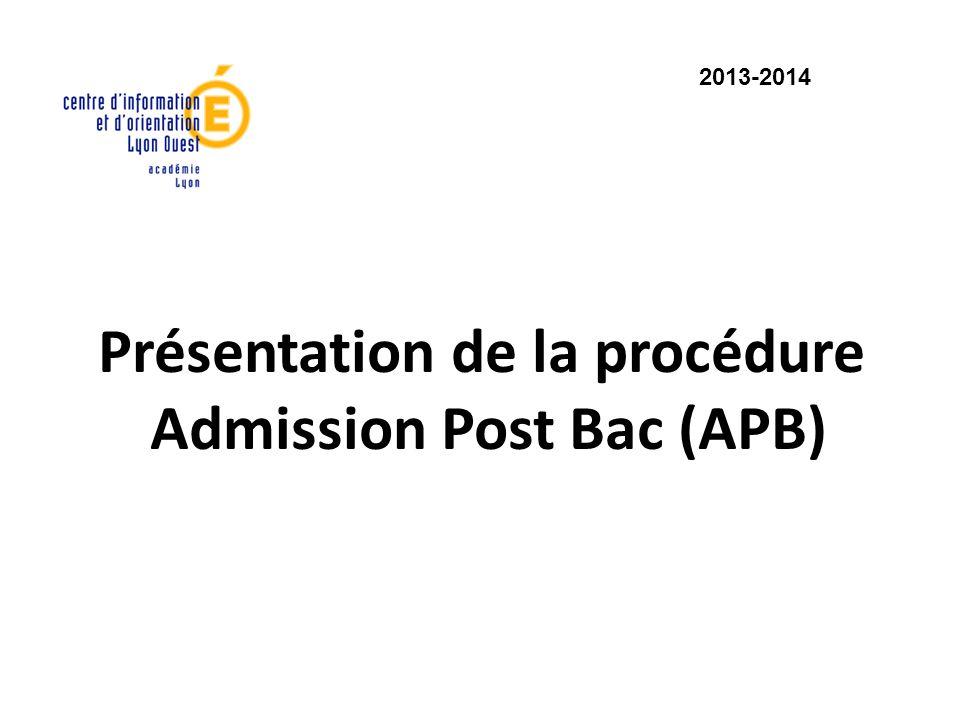 Présentation de la procédure Admission Post Bac (APB) 2013-2014