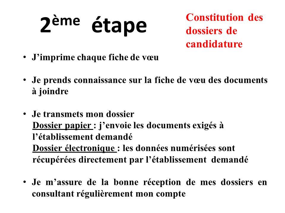 2 ème étape Jimprime chaque fiche de vœu Je prends connaissance sur la fiche de vœu des documents à joindre Je transmets mon dossier Dossier papier :