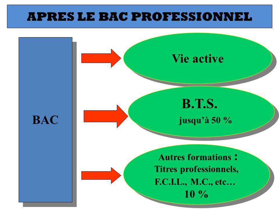 BAC Vie active APRES LE BAC PROFESSIONNEL Autres formations : Titres professionnels, F.C.I.L., M.C., etc… 10 % Autres formations : Titres professionne