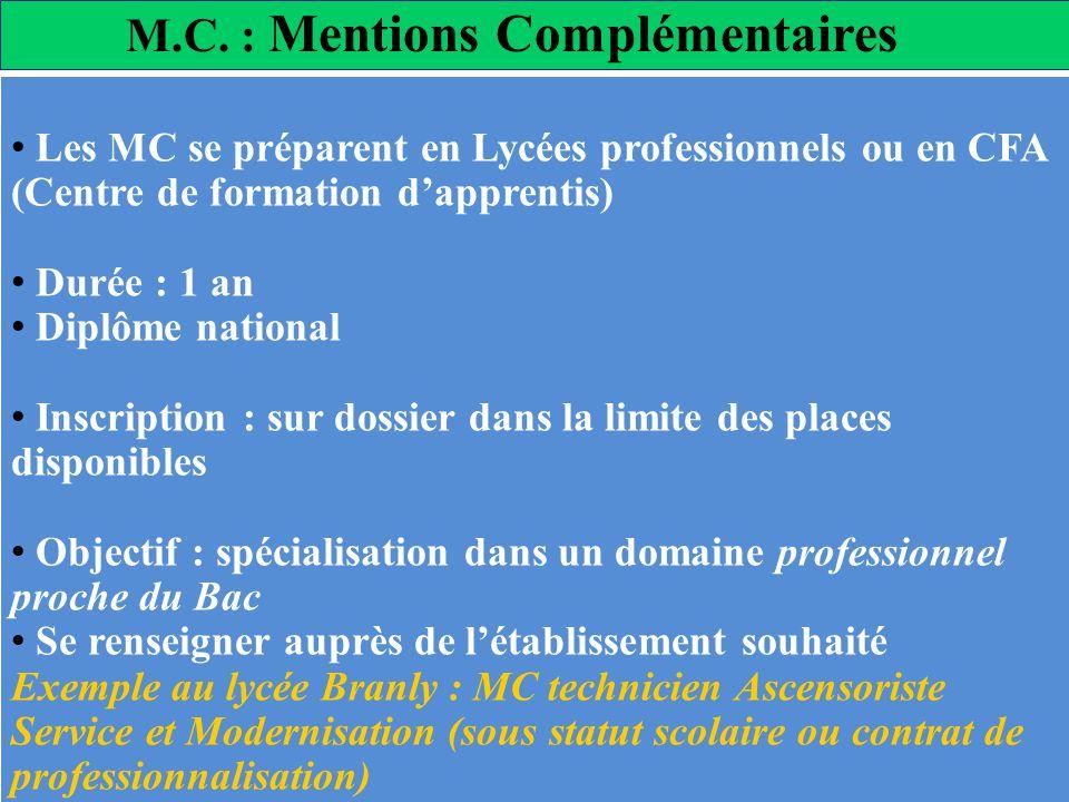 M.C. : Mentions Complémentaires Les MC se préparent en Lycées professionnels ou en CFA (Centre de formation dapprentis) Durée : 1 an Diplôme national