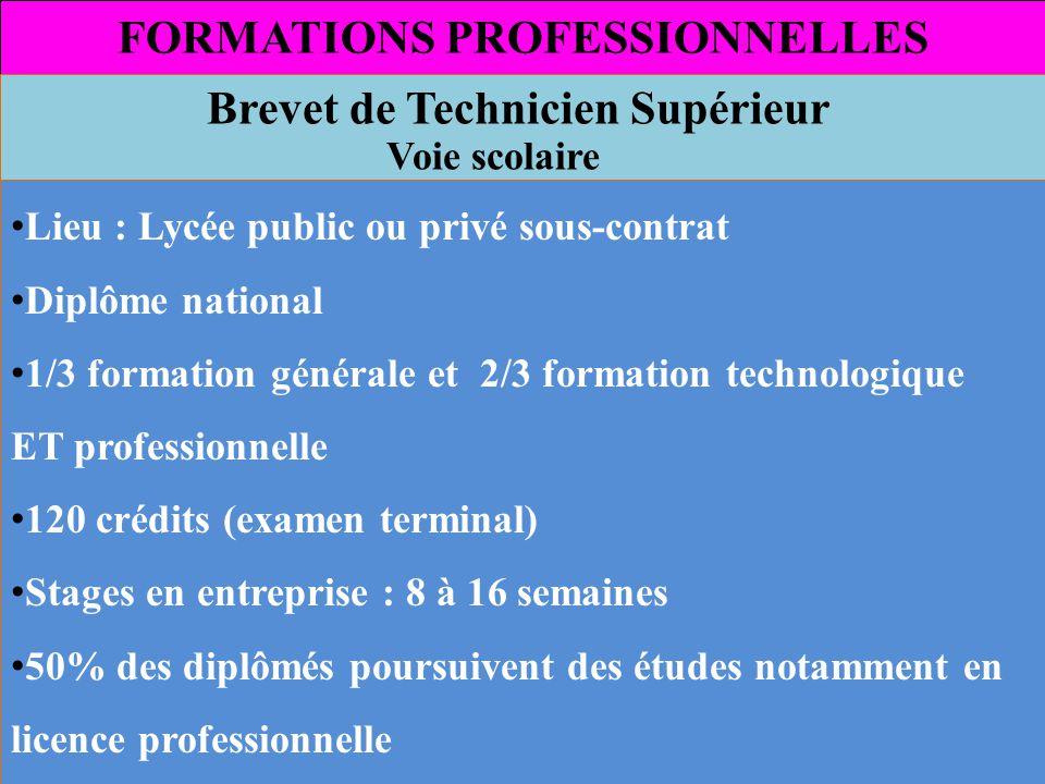 FORMATIONS PROFESSIONNELLES Brevet de Technicien Supérieur Voie scolaire Lieu : Lycée public ou privé sous-contrat Diplôme national 1/3 formation géné