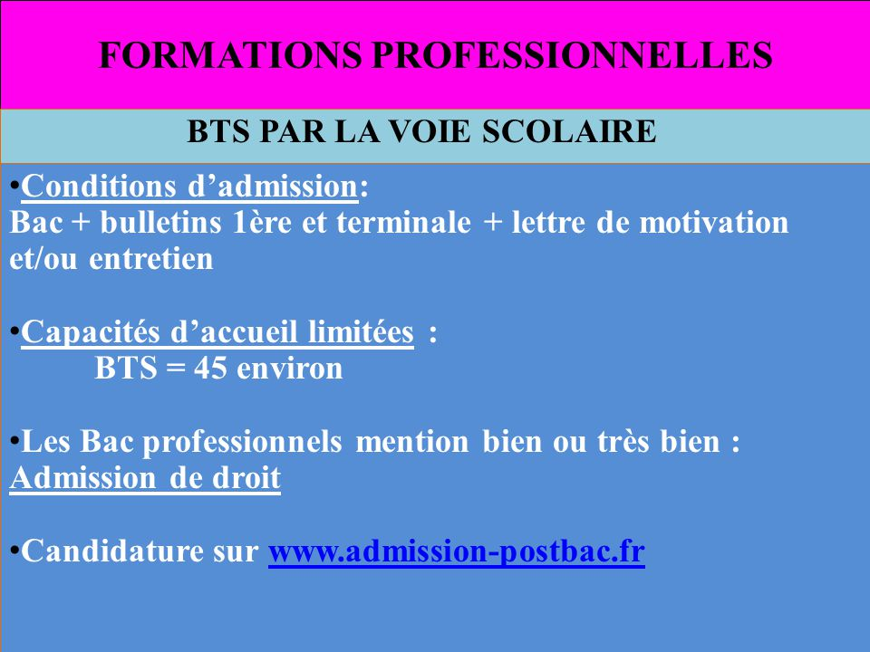 FORMATIONS PROFESSIONNELLES BTS voie scolaire ATTENTION !!.