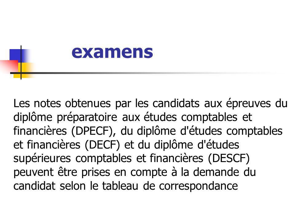 examens Les notes obtenues par les candidats aux épreuves du diplôme préparatoire aux études comptables et financières (DPECF), du diplôme d'études co