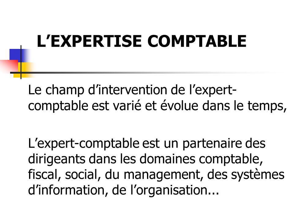 Le champ dintervention de lexpert- comptable est varié et évolue dans le temps, Lexpert-comptable est un partenaire des dirigeants dans les domaines c