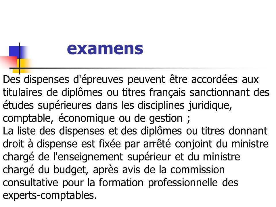 Des dispenses d'épreuves peuvent être accordées aux titulaires de diplômes ou titres français sanctionnant des études supérieures dans les disciplines