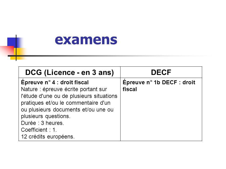 examens DCG (Licence - en 3 ans)DECF Épreuve n° 4 : droit fiscal Nature : épreuve écrite portant sur l'étude d'une ou de plusieurs situations pratique