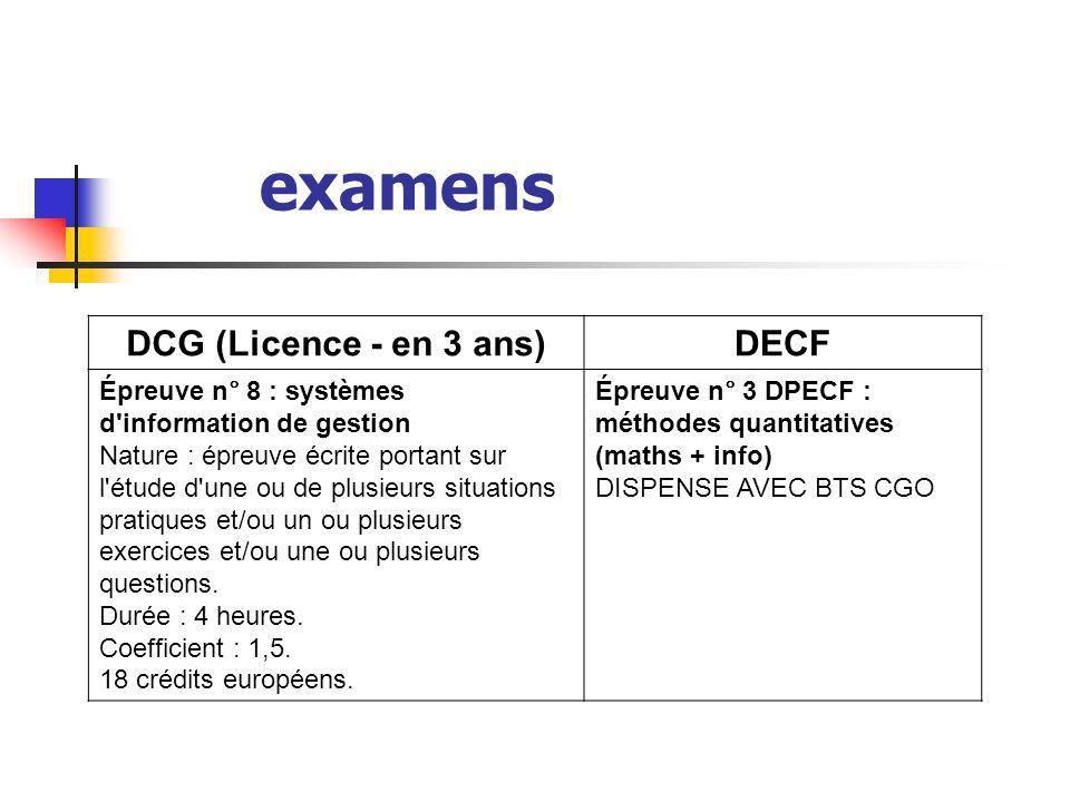 examens DCG (Licence - en 3 ans)DECF Épreuve n° 8 : systèmes d'information de gestion Nature : épreuve écrite portant sur l'étude d'une ou de plusieur