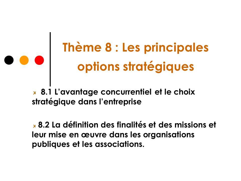 Thème 8 : Les principales options stratégiques 8.1 Lavantage concurrentiel et le choix stratégique dans lentreprise 8.2 La définition des finalités et