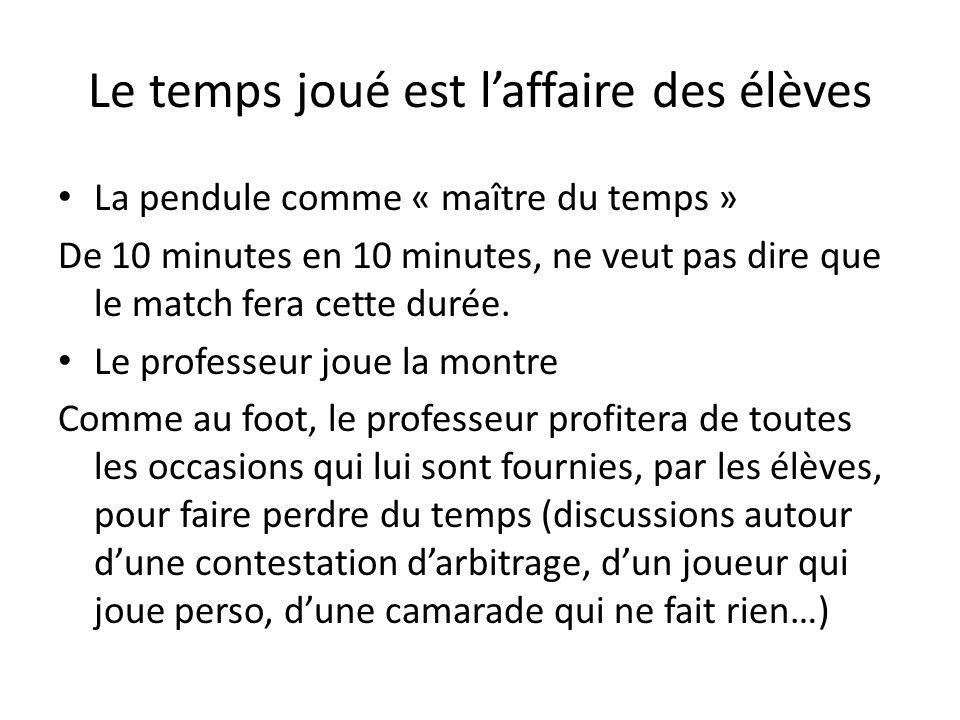 Le temps joué est laffaire des élèves La pendule comme « maître du temps » De 10 minutes en 10 minutes, ne veut pas dire que le match fera cette durée.