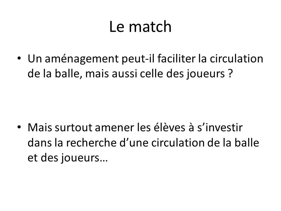 Le match Un aménagement peut-il faciliter la circulation de la balle, mais aussi celle des joueurs .