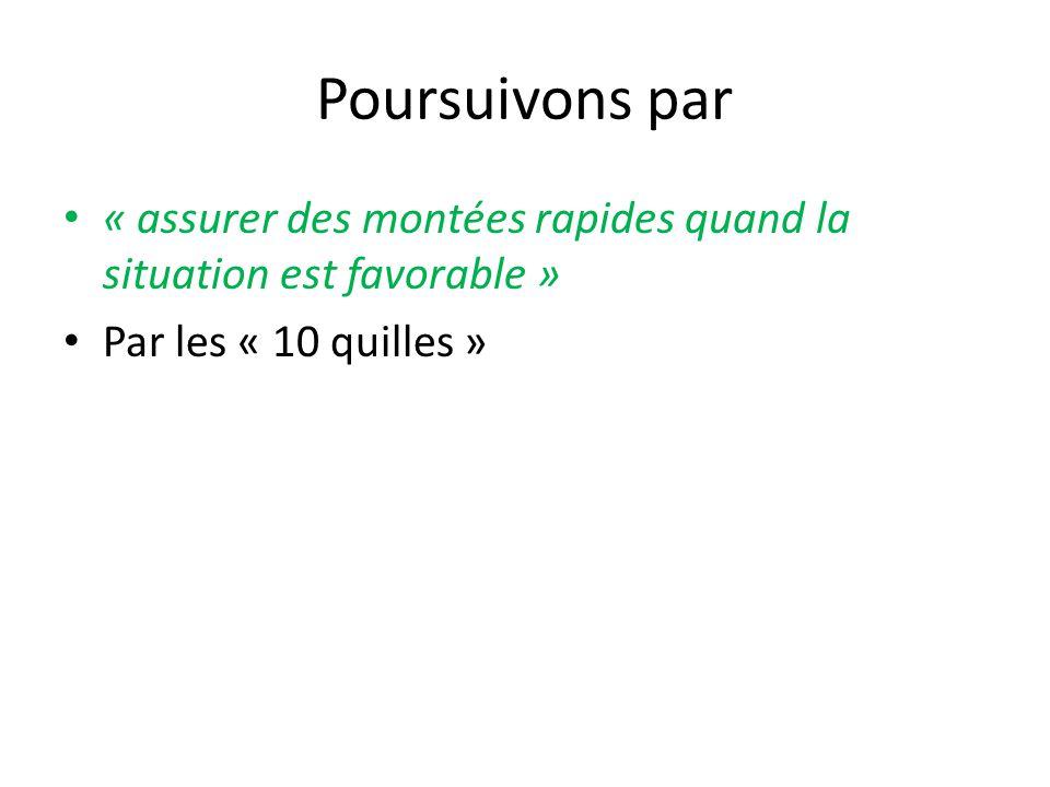 Poursuivons par « assurer des montées rapides quand la situation est favorable » Par les « 10 quilles »