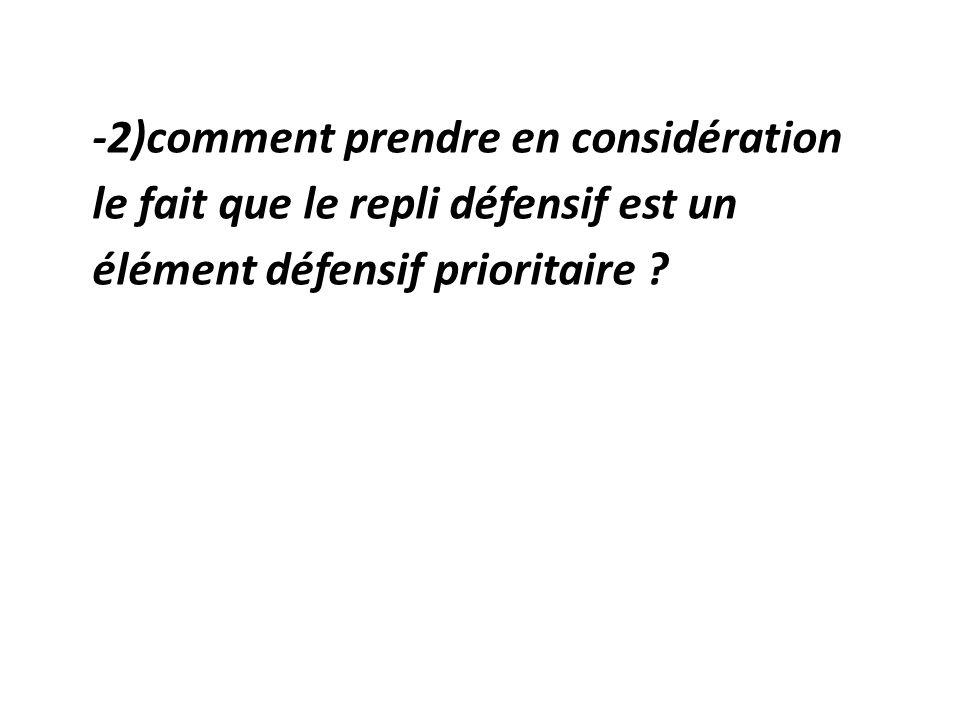 -2)comment prendre en considération le fait que le repli défensif est un élément défensif prioritaire ?