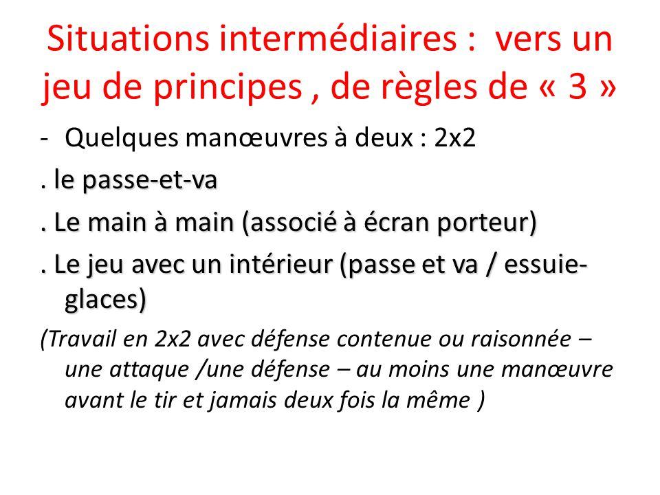 Situations intermédiaires : vers un jeu de principes, de règles de « 3 » -Quelques manœuvres à deux : 2x2 le passe-et-va.