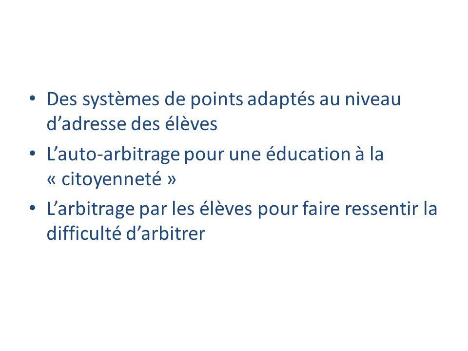 Des systèmes de points adaptés au niveau dadresse des élèves Lauto-arbitrage pour une éducation à la « citoyenneté » Larbitrage par les élèves pour faire ressentir la difficulté darbitrer