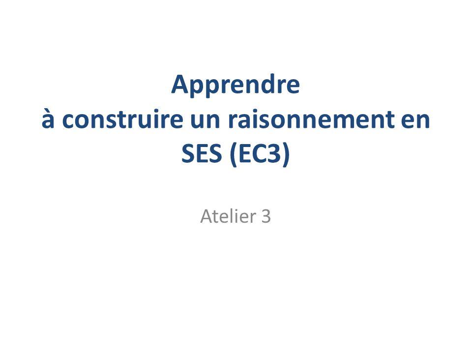 Apprendre à construire un raisonnement en SES (EC3) Atelier 3