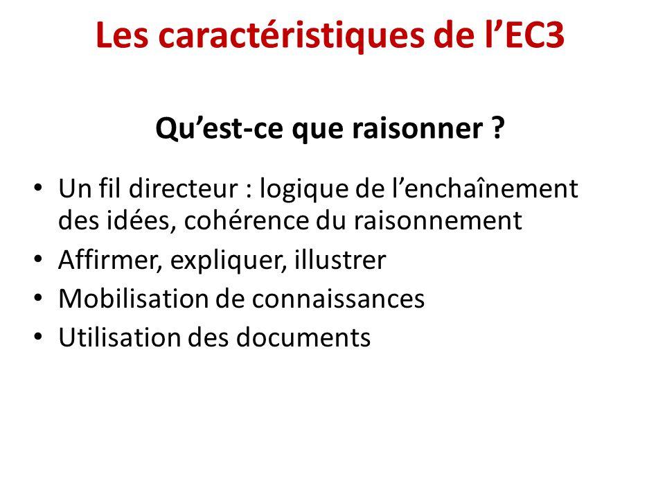 Les caractéristiques de lEC3 Quest-ce que raisonner ? Un fil directeur : logique de lenchaînement des idées, cohérence du raisonnement Affirmer, expli