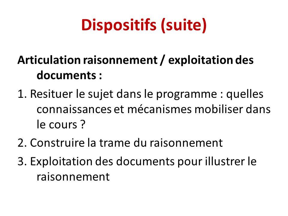 Dispositifs (suite) Articulation raisonnement / exploitation des documents : 1. Resituer le sujet dans le programme : quelles connaissances et mécanis
