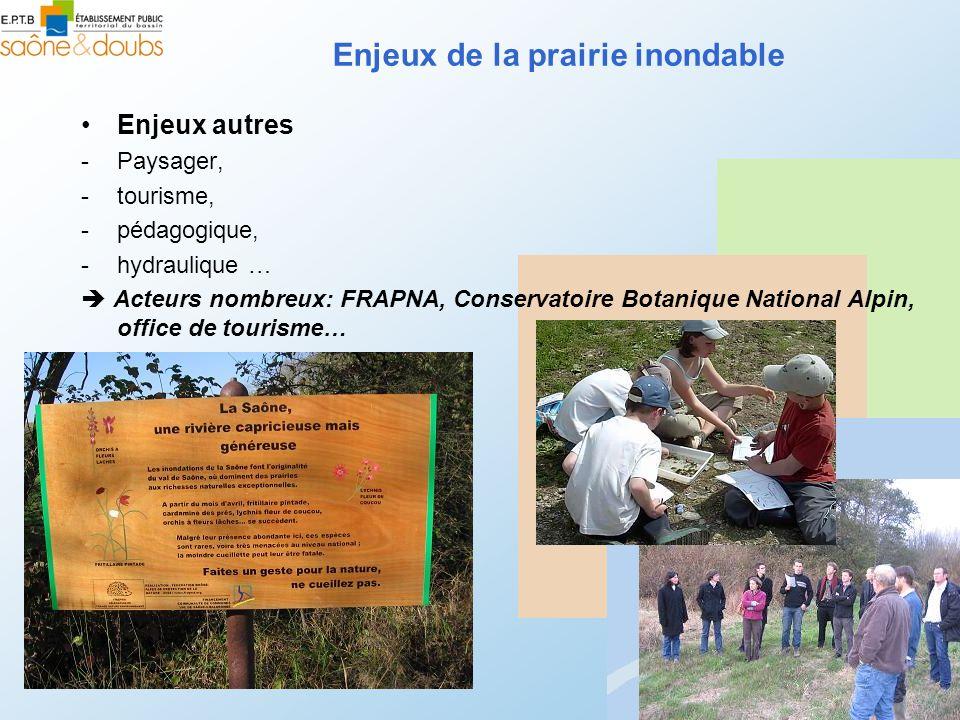 Enjeux autres -Paysager, -tourisme, -pédagogique, -hydraulique … Acteurs nombreux: FRAPNA, Conservatoire Botanique National Alpin, office de tourisme…