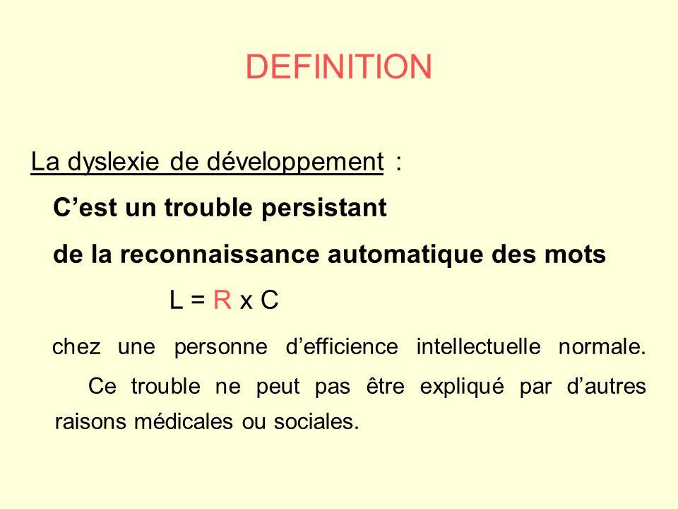 La dyslexie de développement : Cest un trouble persistant de la reconnaissance automatique des mots L = R x C chez une personne defficience intellectuelle normale.