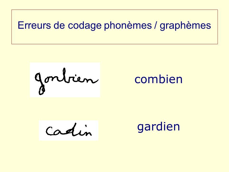 Erreurs de codage phonèmes / graphèmes combien gardien
