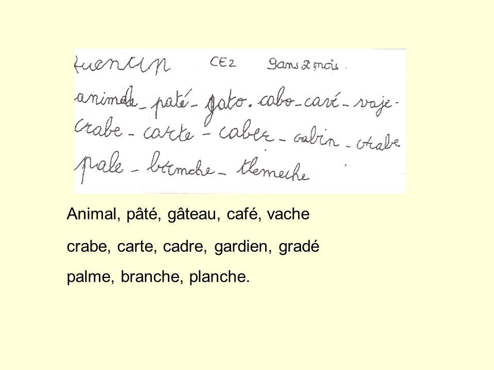 Animal, pâté, gâteau, café, vache crabe, carte, cadre, gardien, gradé palme, branche, planche.