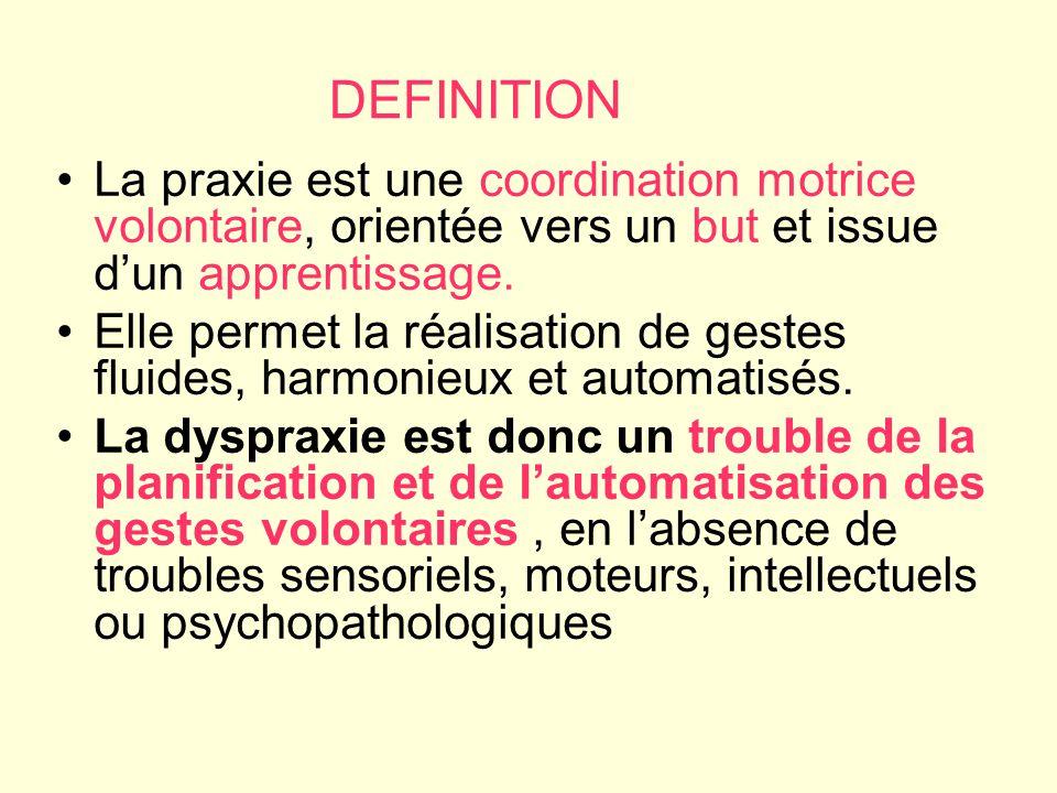 DEFINITION La praxie est une coordination motrice volontaire, orientée vers un but et issue dun apprentissage. Elle permet la réalisation de gestes fl