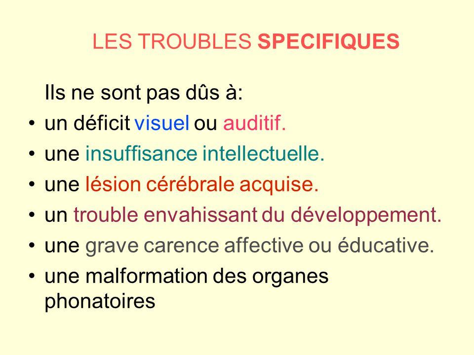 LES TROUBLES SPECIFIQUES Ils ne sont pas dûs à: un déficit visuel ou auditif. une insuffisance intellectuelle. une lésion cérébrale acquise. un troubl